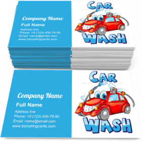 Car Wash Character Business Card Template