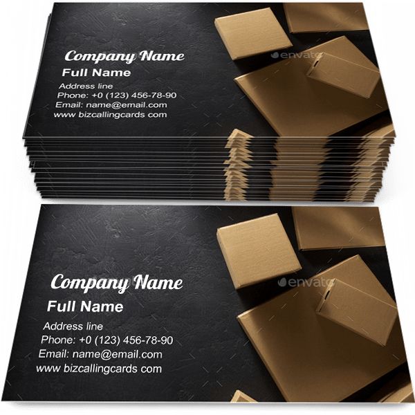 Sample of Cardboard box collection business card design for advertisements marketing ideas and promote Delivery branding identity