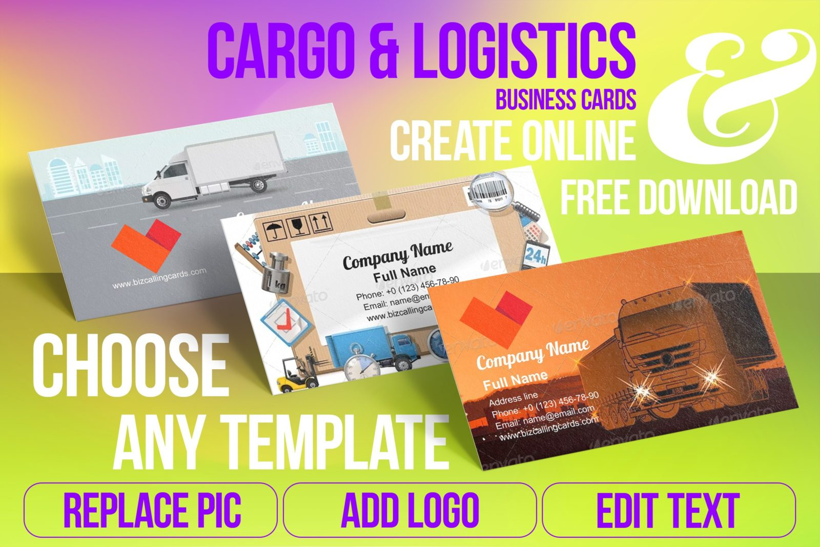 Business Card Templates For Cargo & Logistics Free Download