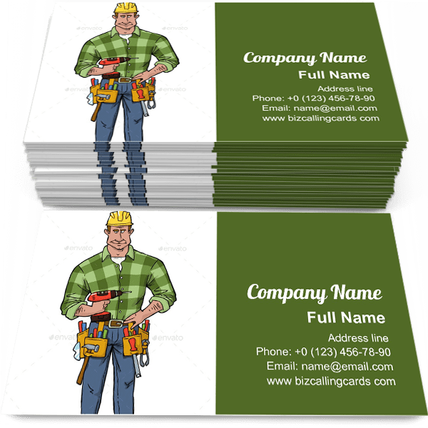 Sample of Cartoon Construction Worker business card design for advertisements marketing ideas and promote repairmanbranding identity
