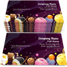 Cartoon Food Planets Business Card Template