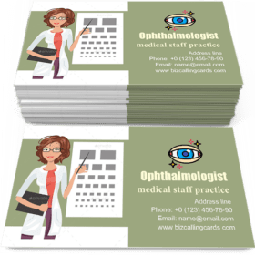 Cartoon Girl Ophthalmologist Business Card Template