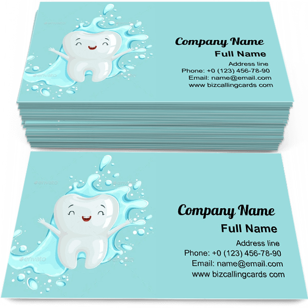 Sample of Cartoon Tooth Character calling card design for advertisements marketing ideas and promote childrens dentistry branding identity