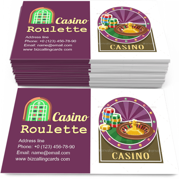 Sample of Casino Roulette and Counter calling card design for advertisements marketing ideas and promote fortune entertainment branding identity
