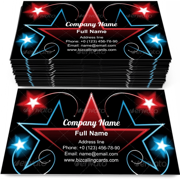 Sample of Celebration Background business card design for advertisements marketing ideas and promote entertainment branding identity