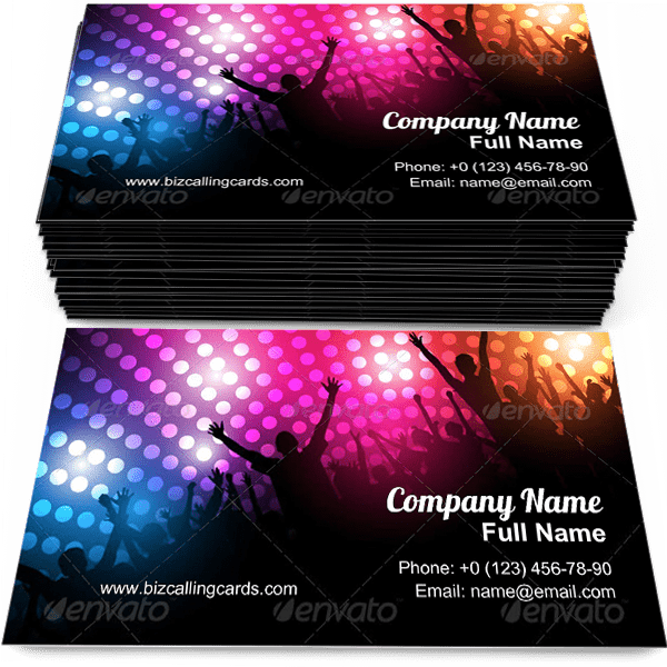 Sample of Celebration Party business card design for advertisements marketing ideas and promote disco branding identity