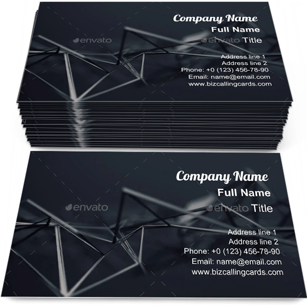 Sample of Chaotic plexus surface business card design for advertisements marketing ideas and promote futuristic branding identity