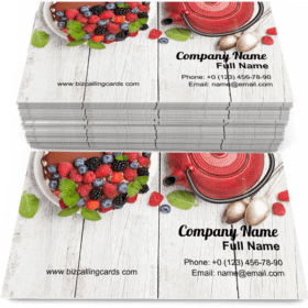 Cheesecake with berries Business Card Template