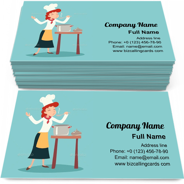 Sample of Chef Girl Tasting Dish calling card design for advertisements marketing ideas and promote dinner delivery branding identity