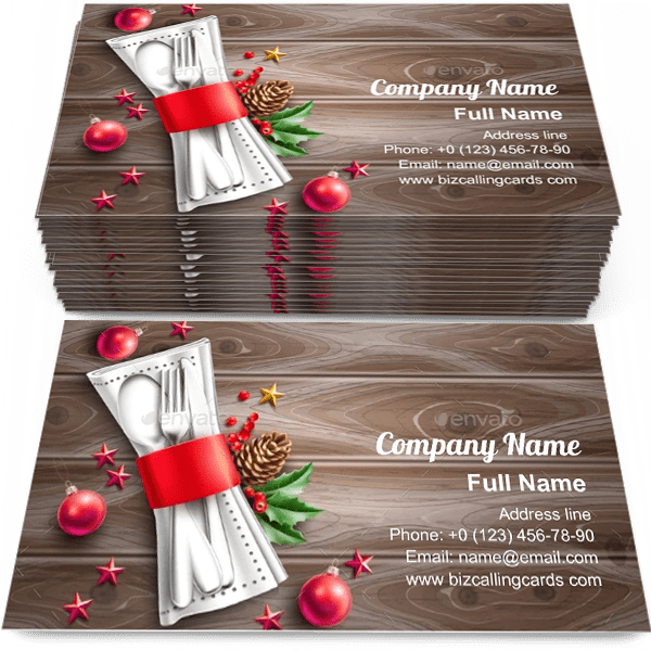 Sample of Christmas Holiday Cafe calling card design for advertisements marketing ideas and promote Christmas holiday restaurant branding identity