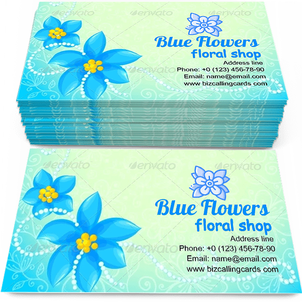Sample of Circle of Blue Flowers calling card design for advertisements marketing ideas and promote floral shop branding identity