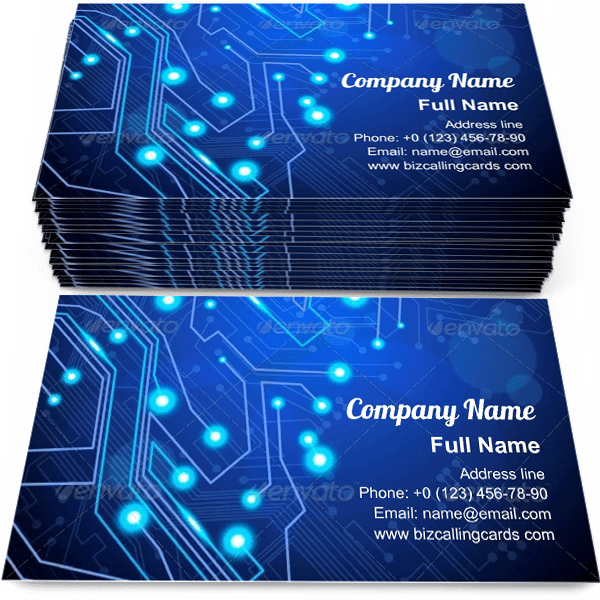 Sample of Circuit board technology business card design for advertisements marketing ideas and promote Computer chip branding identity