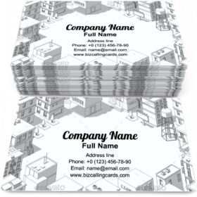 City Buildings Frame Business Card Template
