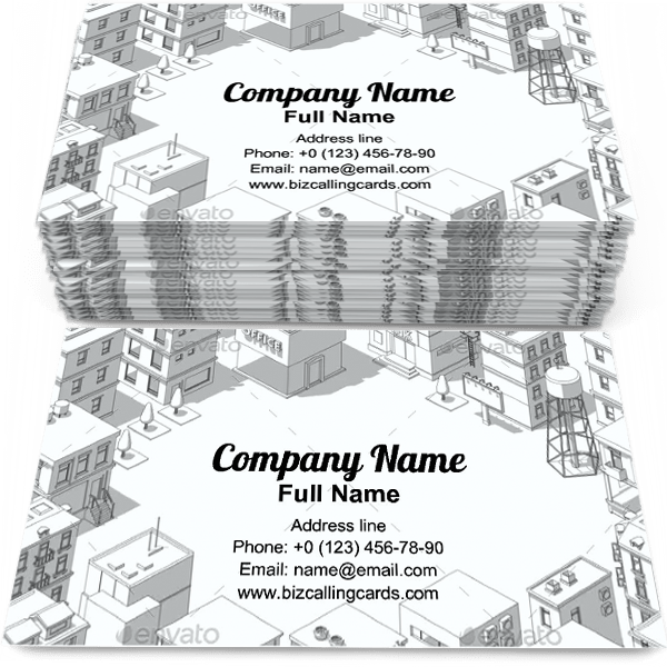 Sample of City Buildings Frame business card design for advertisements marketing ideas and promote real estate branding identity
