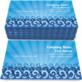 Clean Blue Sea Wave Business Card Template