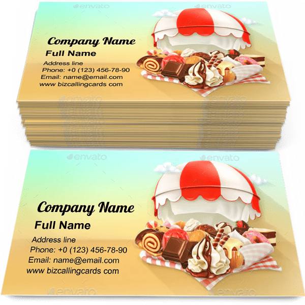 Sample of Coffee and Pastry Shop calling card design for advertisements marketing ideas and promote sweet store branding identity