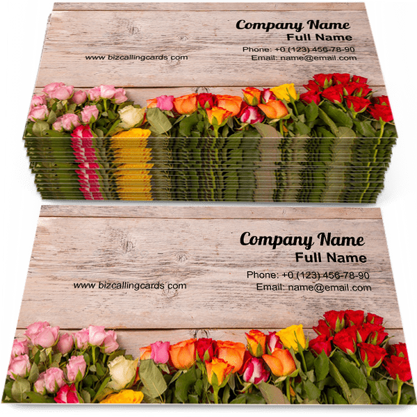 Sample of Colorful floral frame calling card design for advertisements marketing ideas and promote bouquet branding identity