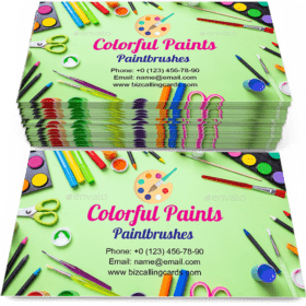 Colorful paints and paintbrushes Business Card Template