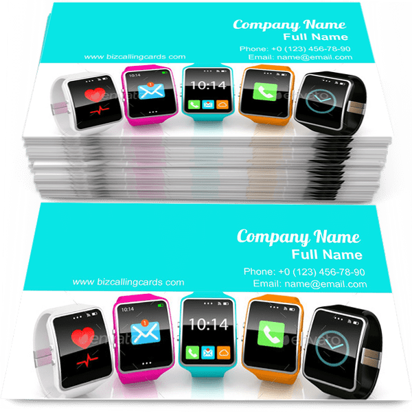 Sample of Colorful smart watchs business card design for advertisements marketing ideas and promote pda branding identity