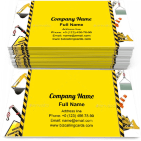 Construction Frame with Machinery Business Card Template
