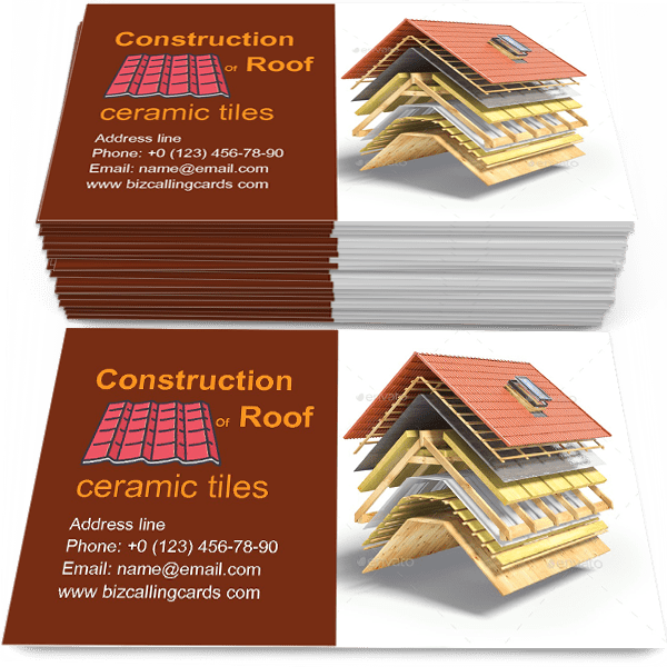 Sample of Construction of roof calling card design for advertisements marketing ideas and promote roof from ceramic tiles branding identity