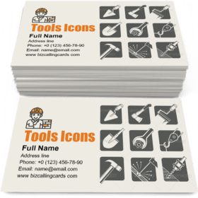 Construction Tools Icons Set Business Card Template