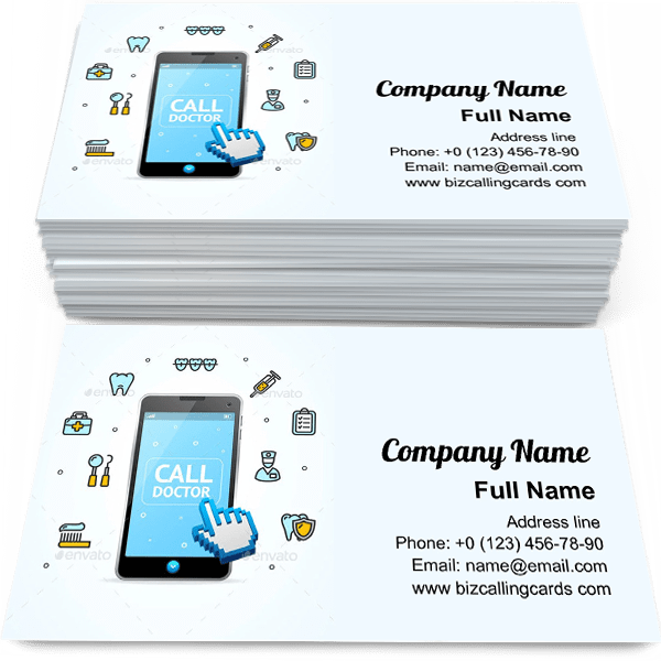 Sample of Consultation Doctor Call business card design for advertisements marketing ideas and promote call doctor branding identity