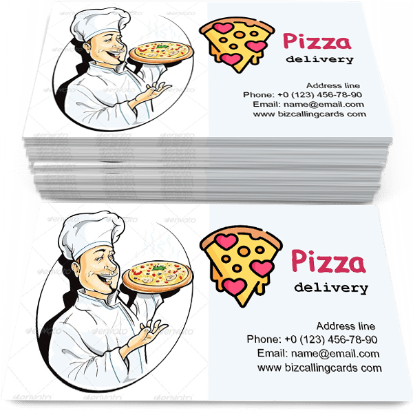 Sample of Cook with Pizza calling card design for advertisements marketing ideas and promote pizza delivery branding identity