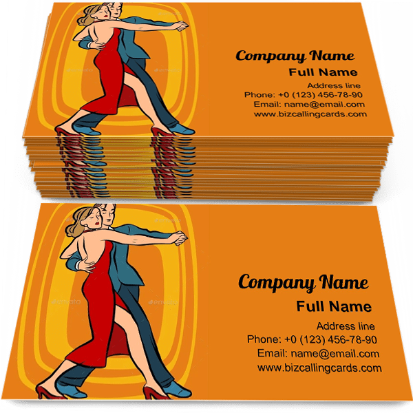Sample of Couple Dancing Tango business card design for advertisements marketing ideas and promote Concert branding identity