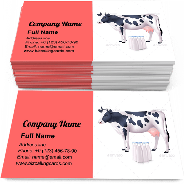 Sample of Cow And Milk Bottles business card design for advertisements marketing ideas and promote grazing branding identity