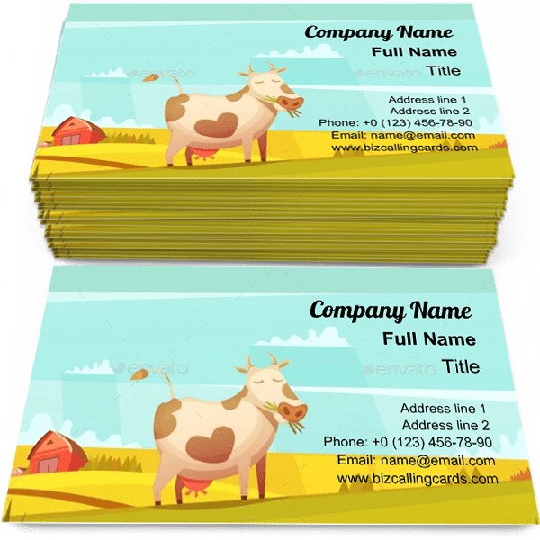 Sample of Cow Grazing on Farmland calling card design for advertisements marketing ideas and promote farm housebranding identity