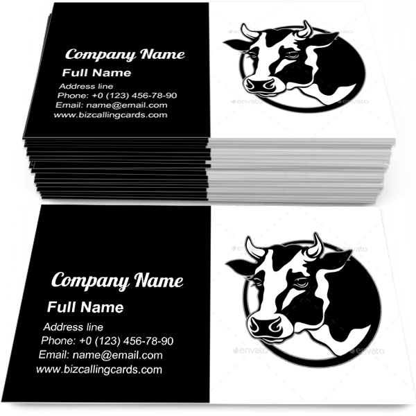 Sample of Cow Head with Horns business card design for advertisements marketing ideas and promote agriculture branding identity