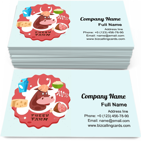 Sample of Cow Milk Meat Products business card design for advertisements marketing ideas and promote agriculture branding identity