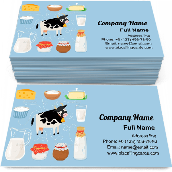 Sample of Cow and Dairy Products calling card design for advertisements marketing ideas and promote Milk beverage branding identity