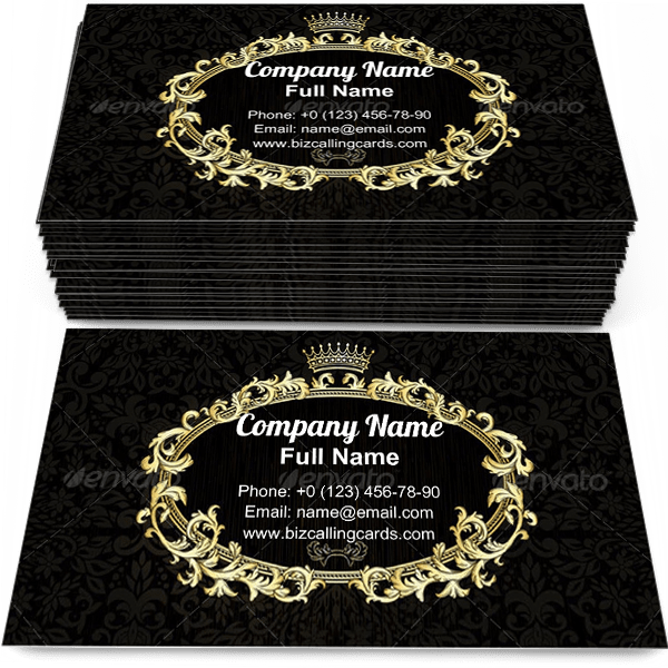 Sample of Crown on dark pattern business card design for advertisements marketing ideas and promote royal branding identity