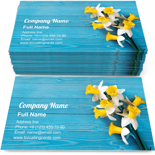 Sample of Daffodils bouquet calling card design for advertisements marketing ideas and promote narcissus branding identity