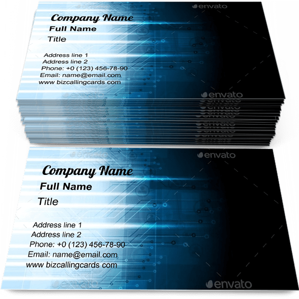 Sample of Dark Blue Tech business card design for advertisements marketing ideas and promote Digital branding identity