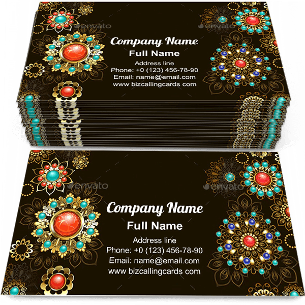 Sample of Decorated with jewelery calling card design for advertisements marketing ideas and promote boho style branding identity