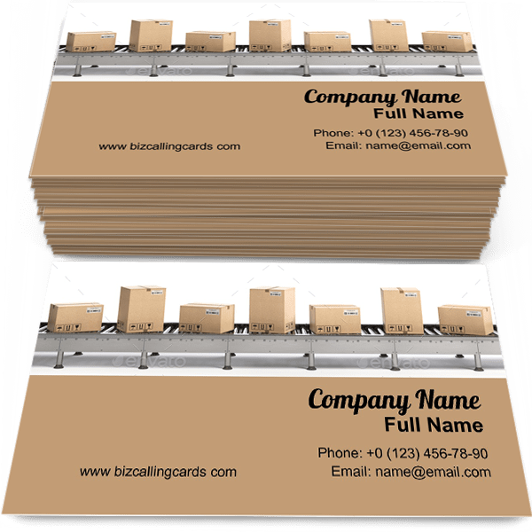 Sample of Delivery and packaging service calling card design for advertisements marketing ideas and promote E-commerce branding identity