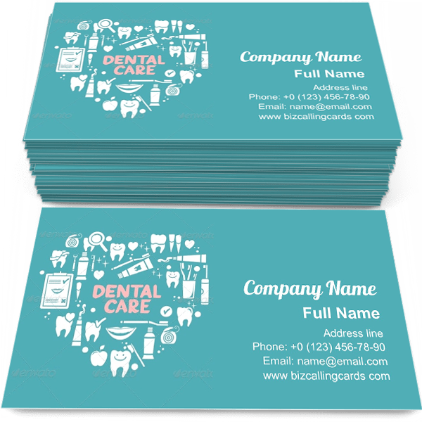 Sample of Dental Care Symbols business card design for advertisements marketing ideas and promote brushing teeth branding identity