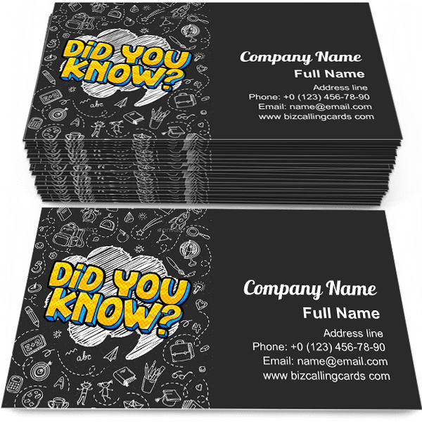Sample of Did You Know calling card design for advertisements marketing ideas and promote Interesting fact teaching branding identity