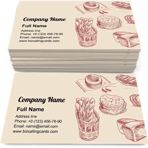 Sample of Different kinds bread calling card design for advertisements marketing ideas and promote baking shop branding identity
