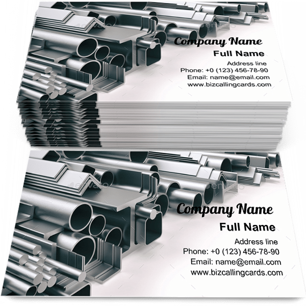 Sample of Different metal profile business card design for advertisements marketing ideas and promote metallurgy branding identity