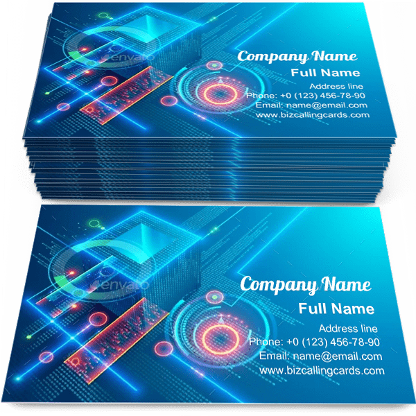 Sample of Digital Blockchain business card design for advertisements marketing ideas and promote Cryptocurrency branding identity