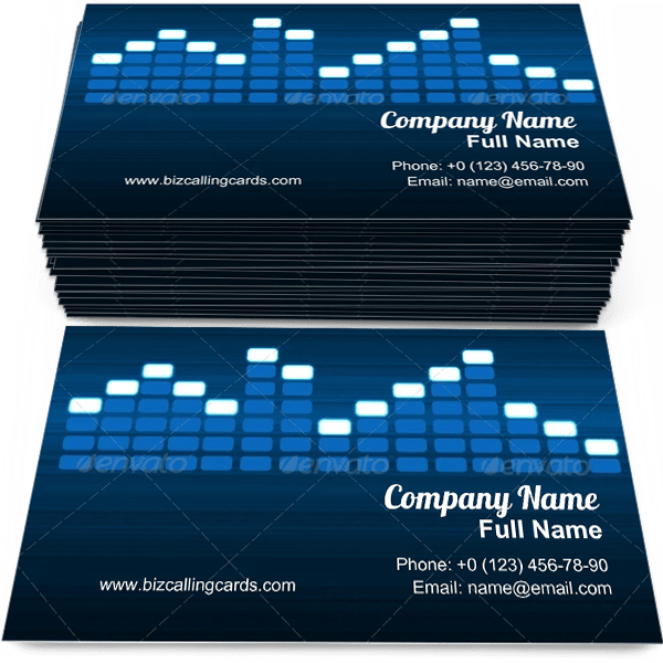 Sample of Digital Equalizer business card design for advertisements marketing ideas and promote disco equipment branding identity