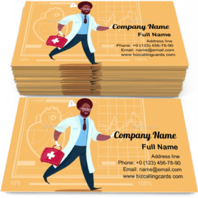 Doctor Runs with Medical Box Business Card Template