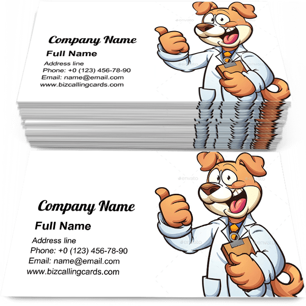 Sample of Dog Doctor calling card design for advertisements marketing ideas and promote veterinarian branding identity