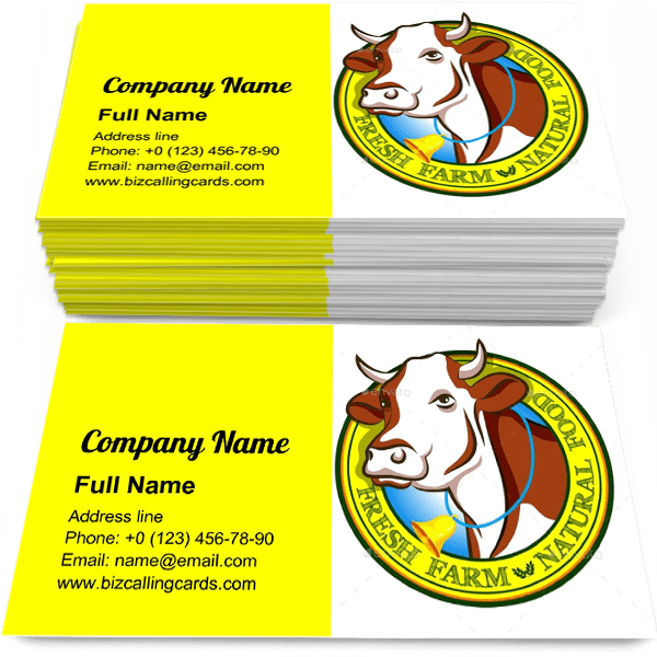 Sample of Domestic Cow Head calling card design for advertisements marketing ideas and promote cattle branding identity