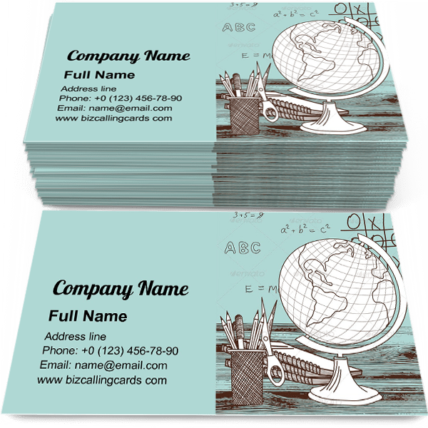 Editable Drawing Geography Globe Business Card Template