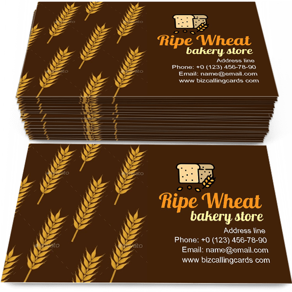 Sample of Ears Of Ripe Wheat calling card design for advertisements marketing ideas and promote agriculture or bakery store branding identity
